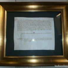 Libros antiguos: ACTA NOTARIAL FINALES SIGLO XV-PERGAMINO 22X18-MARCO: 39X33CM- MUY BUEN ESTADO-FIRMA GRANDE. Lote 151291170