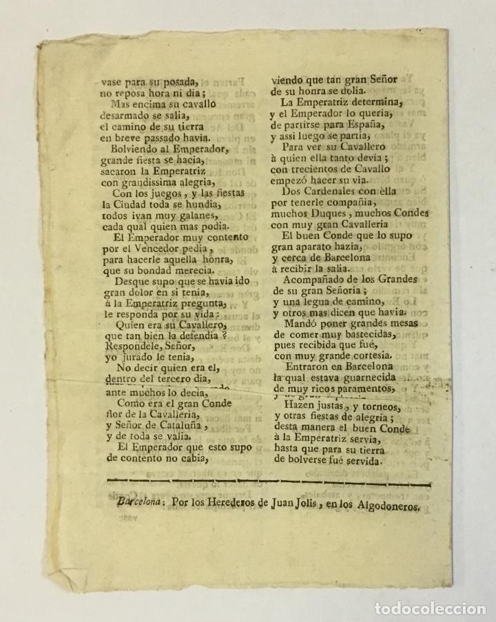 Libros antiguos: ROMANCE DE COMO EL CONDE DON RAMON DE BARCELONA LIBRÓ A LA EMPERATRIZ DE ALEMANIA, - Foto 2 - 123151158