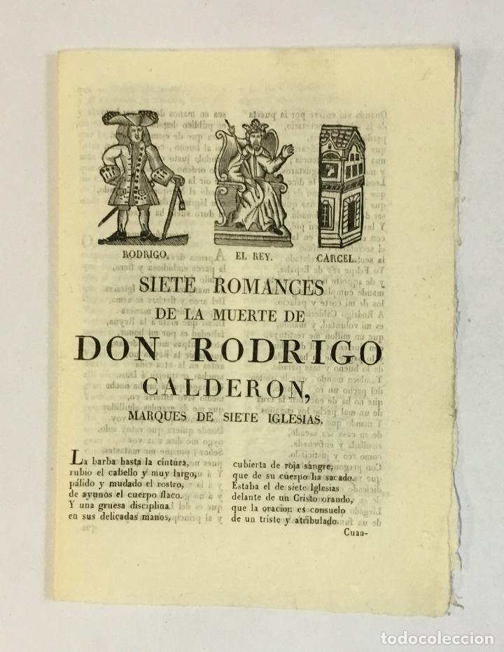 SIETE ROMANCES DE LA MUERTE DE DON RODRIGO CALDERON, MARQUES DE SIETE IGLESIAS. (Libros Antiguos, Raros y Curiosos - Literatura - Otros)