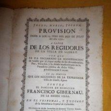Libros antiguos: PANADERIA PUBLICA VILLA DE LLORET - AÑO 1752 - EXCEPCIONAL DOCUMENTO HISTORICO.. Lote 151483834