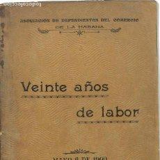 Libros antiguos: VEINTE AÑOS DE LABOR -ASOCIACION DEPENDIENTE DEL COMERCIO DE LA HABANA - MAYO 6 DE 1900. Lote 151824294