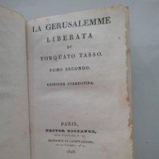 Libros antiguos: LIBRO LA GERUSALEMME LIBERATA DI TORCUATO TASSO TOMÓ I. EDICIONES STEREOTIPA 1828.. Lote 151939189