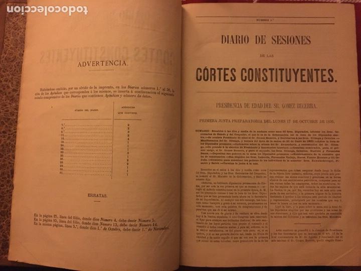 Libros antiguos: Diario de sesiones de las cortes constituyentes - Foto 2 - 152019086