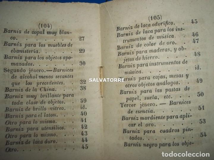 Libros antiguos: SECRETOS ARTES Y OFICIOS.BARNICES Y CHAROLES.MADRID,1853, - Foto 4 - 152287022