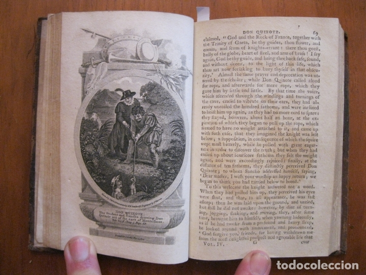 Libros antiguos: Don Quijote de La Mancha, 3 tomos, ca. 1770. Cervantes/ Smollett. Con 12 grabados - Foto 5 - 152344413