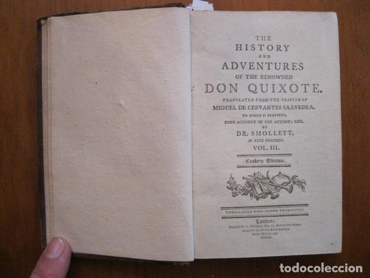 Libros antiguos: Don Quijote de La Mancha, 3 tomos, ca. 1770. Cervantes/ Smollett. Con 12 grabados - Foto 8 - 152344413