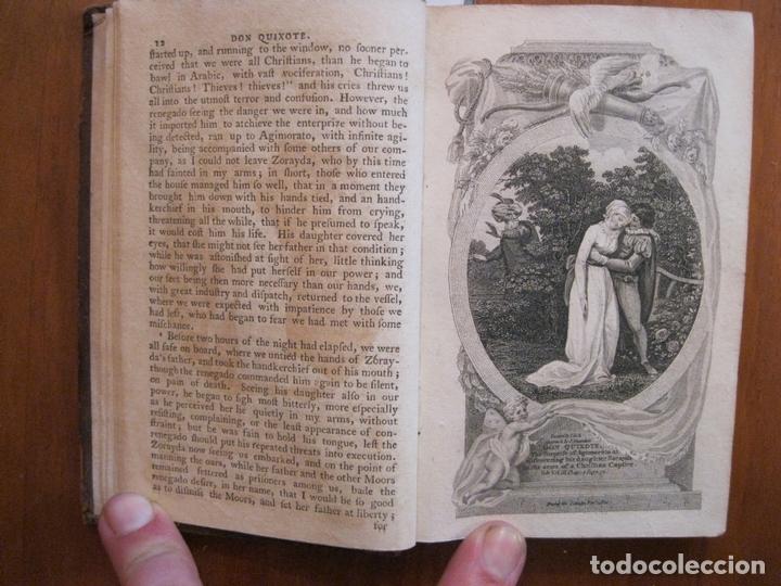 Libros antiguos: Don Quijote de La Mancha, 3 tomos, ca. 1770. Cervantes/ Smollett. Con 12 grabados - Foto 9 - 152344413