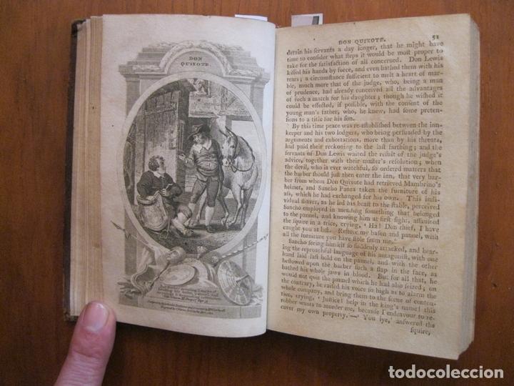 Libros antiguos: Don Quijote de La Mancha, 3 tomos, ca. 1770. Cervantes/ Smollett. Con 12 grabados - Foto 10 - 152344413