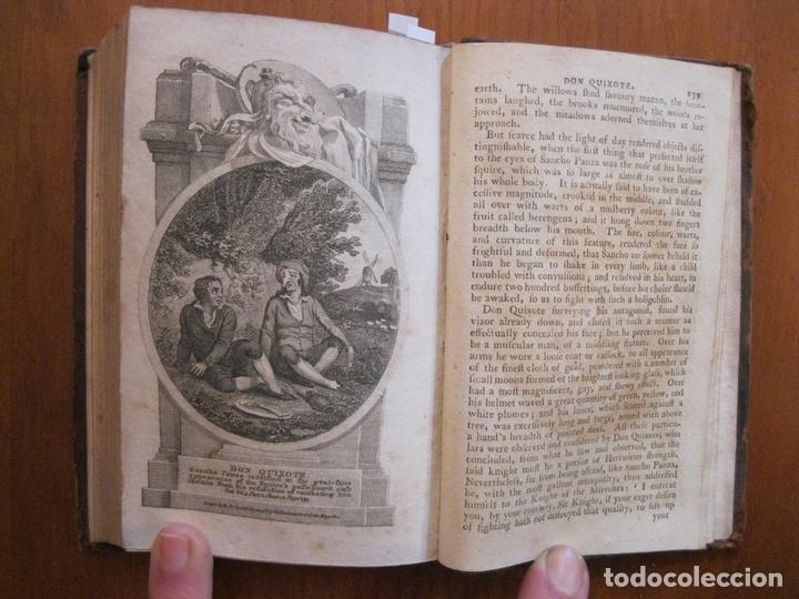 Libros antiguos: Don Quijote de La Mancha, 3 tomos, ca. 1770. Cervantes/ Smollett. Con 12 grabados - Foto 12 - 152344413