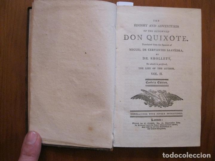 Libros antiguos: Don Quijote de La Mancha, 3 tomos, ca. 1770. Cervantes/ Smollett. Con 12 grabados - Foto 13 - 152344413