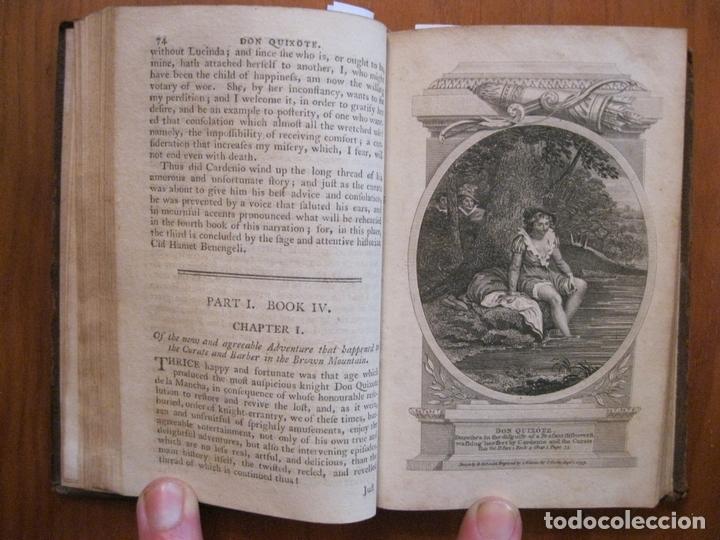 Libros antiguos: Don Quijote de La Mancha, 3 tomos, ca. 1770. Cervantes/ Smollett. Con 12 grabados - Foto 15 - 152344413