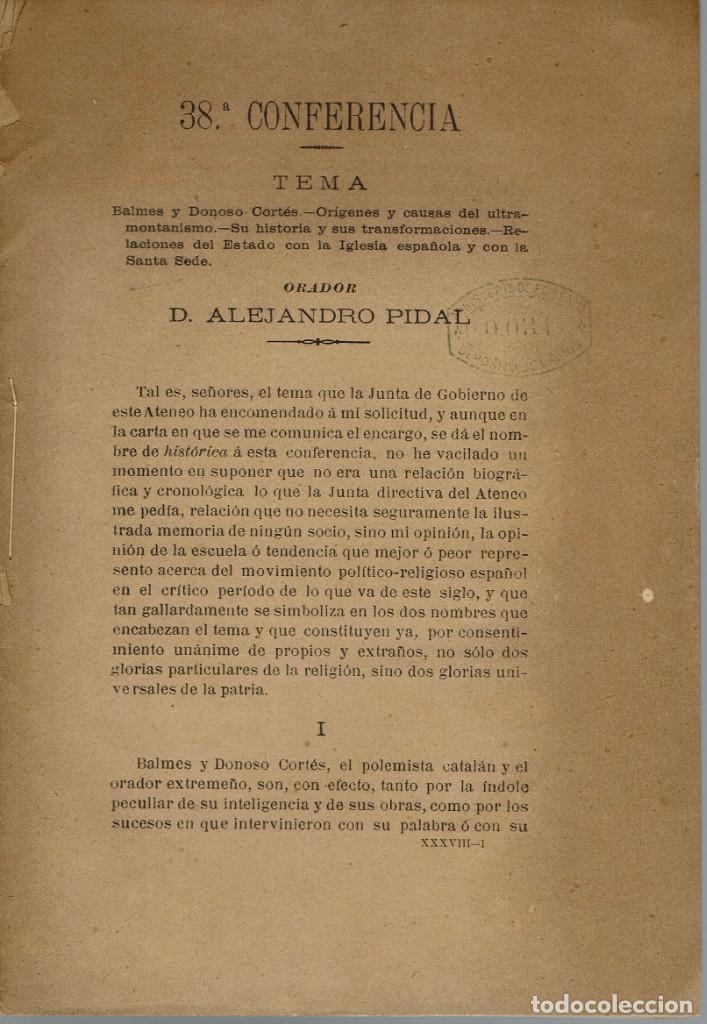 LA ESPAÑA DEL SIGLO XIX. TOMO III. CONFERENCIA 38 DEL ATENEO DE MADRID. AÑO 1888. (6.5) (Libros Antiguos, Raros y Curiosos - Historia - Otros)