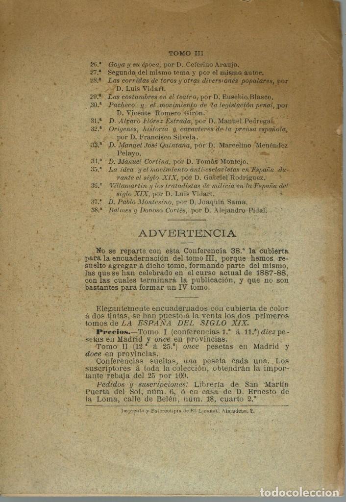 Libros antiguos: LA ESPAÑA DEL SIGLO XIX. TOMO III. CONFERENCIA 38 DEL ATENEO DE MADRID. AÑO 1888. (6.5) - Foto 2 - 152613974