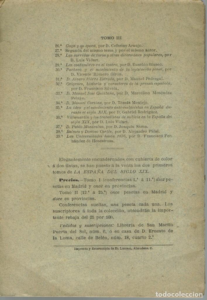 Libros antiguos: LA ESPAÑA DEL SIGLO XIX. TOMO III. CONFERENCIA 39 DEL ATENEO DE MADRID. AÑO 1888. (6.5) - Foto 2 - 51800197
