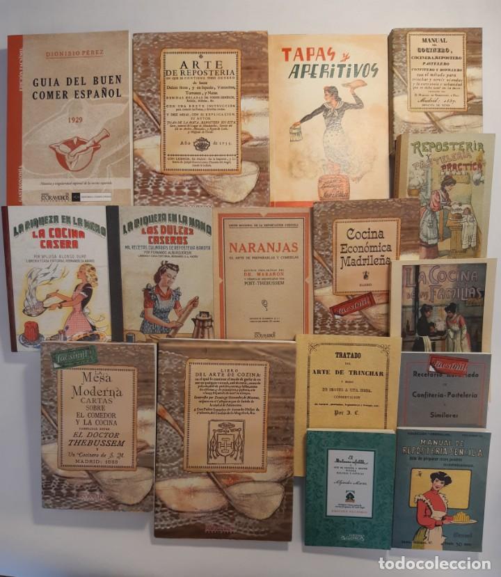 16 LIBROS FACSÍMILES RELATIVOS A LA GASTRONOMÍA. COCINA CASERA TRADICIONAL ESPAÑOLA REPOSTERÍA (Libros Antiguos, Raros y Curiosos - Cocina y Gastronomía)
