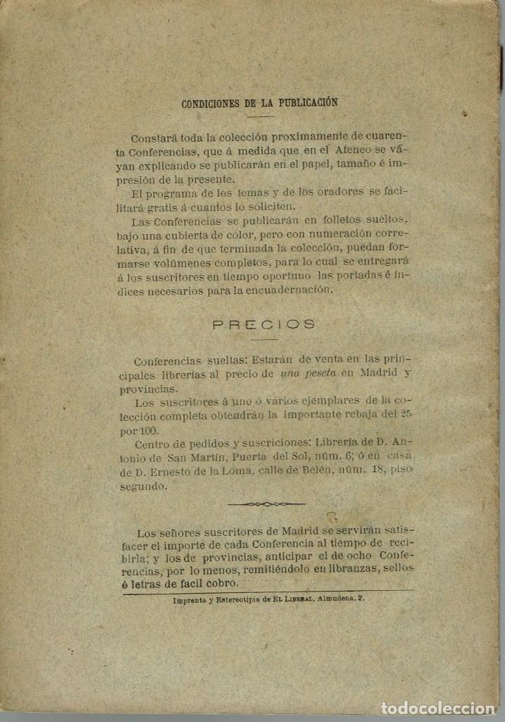 Libros antiguos: LA ESPAÑA DEL SIGLO XIX. TOMO II. CONFERENCIA 22 DEL ATENEO DE MADRID. AÑO 1886. (15.3) - Foto 2 - 51800130