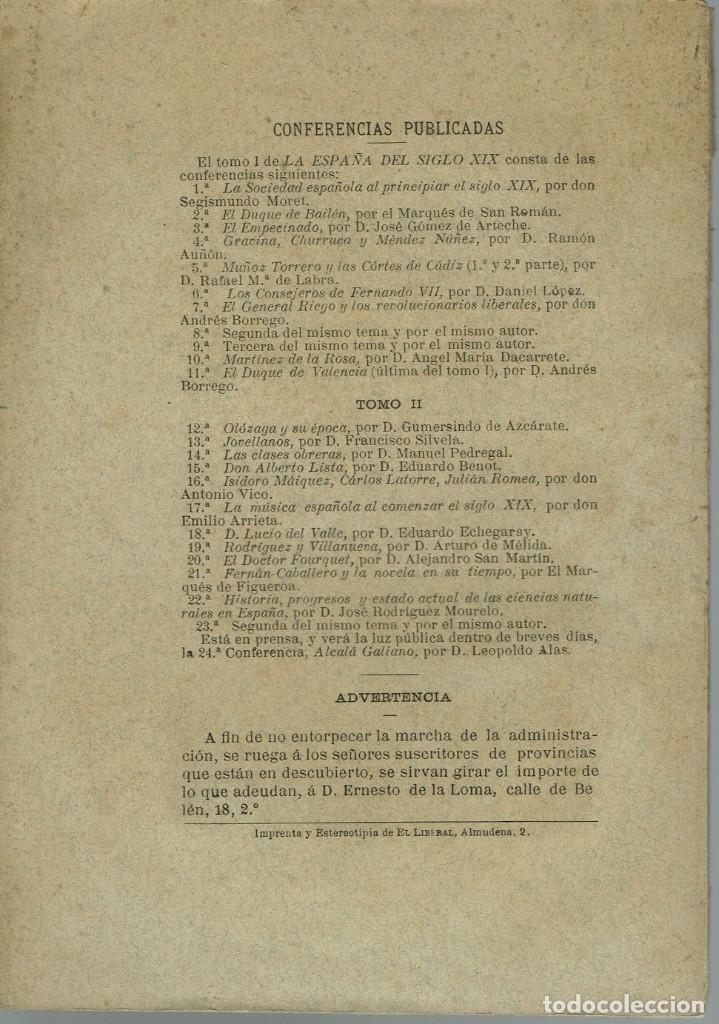Libros antiguos: LA ESPAÑA DEL SIGLO XIX. TOMO II. CONFERENCIA 23 DEL ATENEO DE MADRID. AÑO 1886. (3.5) - Foto 2 - 51800155