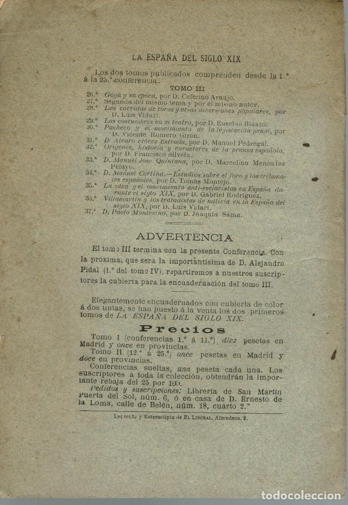 Libros antiguos: LA ESPAÑA DEL SIGLO XIX. TOMO III. CONFERENCIA 37 DEL ATENEO DE MADRID. AÑO 1888. (3.5) - Foto 2 - 51800176