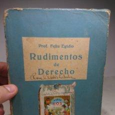 Libros antiguos: RUDIMENTOS DE DERECHO, PROF. FELIU EGIDIO, CON FIRMA DEL AUTOR?. Lote 152837529