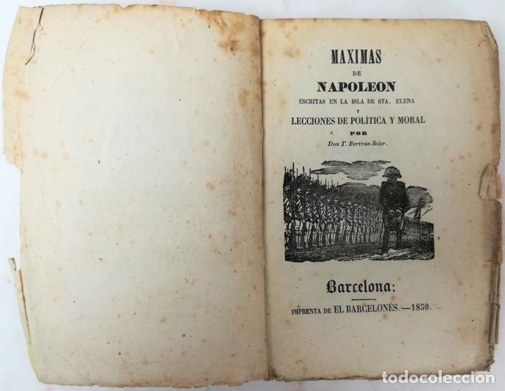 Libros antiguos: MÁXIMAS DE NAPOLEÓN. T. BELTRÁN SOLER. IMPREN. EL BARCELONÉS. BARCELONA 1850 - Foto 6 - 153082866