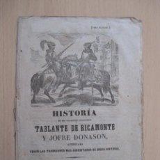 Livros antigos: HISTORIA DE LOS VALIENTES CABALLEROS TABLANTE DE RICAMONTE Y JOFRE DONASON . Lote 153135998