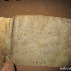 Libros antiguos: ANTIGUO PERGAMINO SUELTO PARTE DE CUBIERTA SIGLO XVIII. Lote 153283734