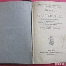 Libros antiguos: MANUAL DE SERICULTURA. GUIA DE GUSANOS. JOSÉ GALANTE Y VILLARANDA. 1880. 17 X 11 CM. 224 PÁG. TELA.. Lote 153648898