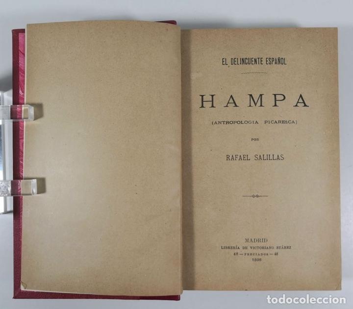 Libros antiguos: EL DELINCUENTE ESPAÑOL. HAMPA. RAFAEL SALILLAS. MADRID. 1898. - Foto 3 - 153658334