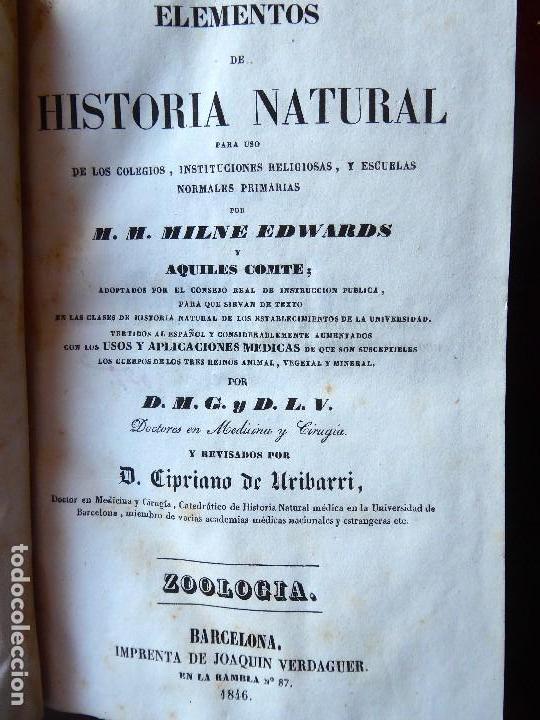 Libros antiguos: L-5269. ELEMENTOS DE HISTORIA NATURAL. MILNE EDWARDS Y AQUILES COMTE. 3 TOMOS. BARCELONA AÑO 1846. - Foto 3 - 154007630