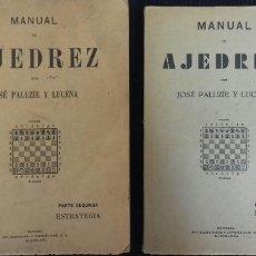 Libros antiguos: 2 MANUALES DE AJEDREZ. JOSE PALUZIE Y LUCENA. IMPRENTA ELZEVIRIANA Y LIBRERIA CAMI.. Lote 154215846