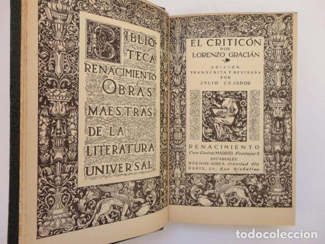 Libros antiguos: Baltasar Gracián - El Criticón,..,revisada por Julio Cejador - Renacimiento, 1913-1914. - Foto 2 - 154548182