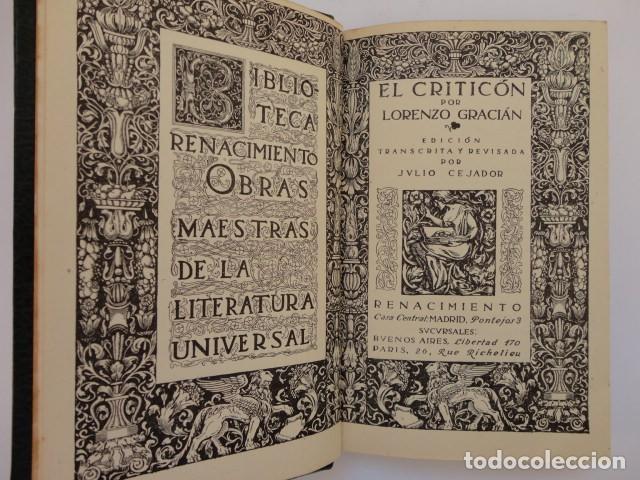 Libros antiguos: Baltasar Gracián - El Criticón,..,revisada por Julio Cejador - Renacimiento, 1913-1914. - Foto 7 - 154548182