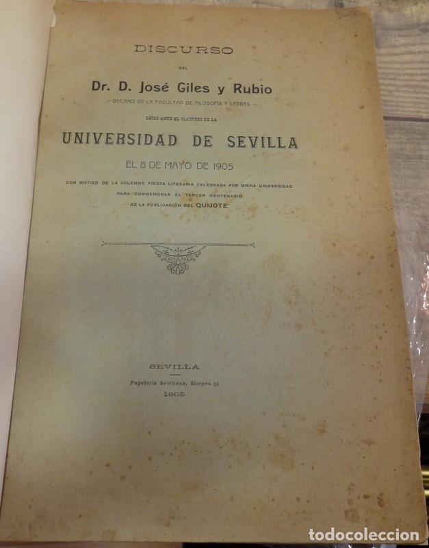 TERCER CENTENARIO DEL QUIJOTE. 1905,DISCURSO JOSE GILES Y RUBIO (Libros Antiguos, Raros y Curiosos - Literatura - Otros)