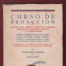 Libros antiguos: CURSOS DE REDACCION 2DA EDICION L. MIRANDA PODADERA EDIT BURGOS PAGINAS 223 LE 2864. Lote 154764098