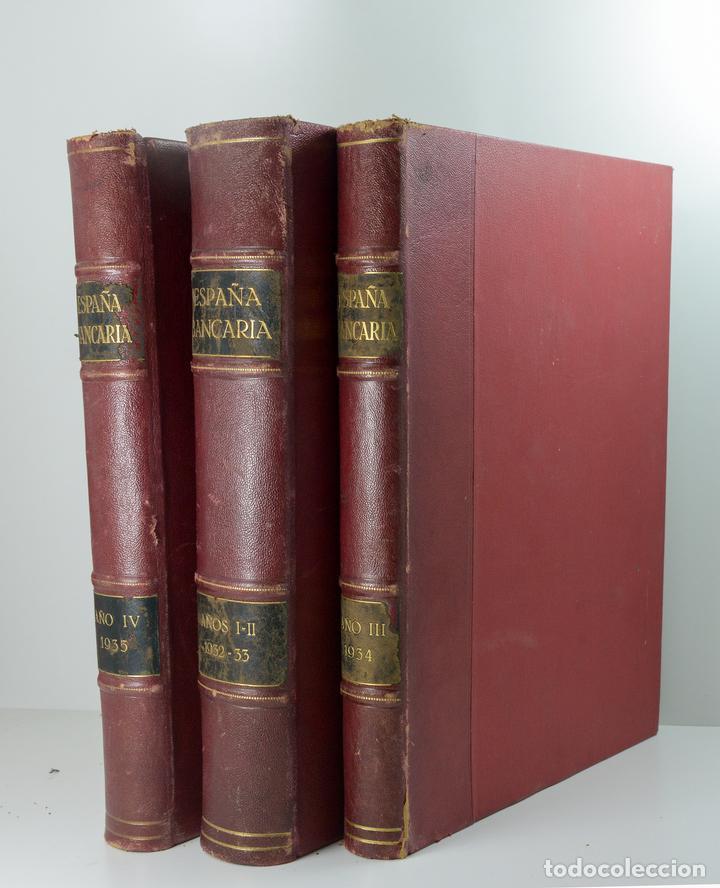 Libros antiguos: 3 Volumenes encuadernados de Revista Bancaria años completos 1932/33/34/35 - Foto 2 - 155165570