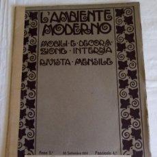 Libros antiguos: L'AMBIENTE MODERNO V 1914 - 8 LAMINAS MOBILIARIO Y DECORACION INTERNA - FOTOS E. BERARDI. Lote 155355834