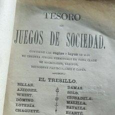 Libros antiguos: TESORO DE JUEGOS DE SOCIEDAD AÑO 1881. Lote 155361290