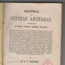 Libros antiguos: A. C. BAIGORRI: MANUAL DE CUENTAS AJUSTADAS AL SISTEMA MÉTRICO DECIMAL. 1863. NUMISMÁTICA. Lote 155496362