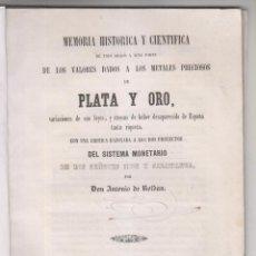 Libros antiguos: ANTONIO DE ROLDÁN: VALORES DE LOS METALES PRECIOSOS DE PLATA Y ORO. 1847. NUMISMÁTICA. Lote 155499490