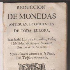 Libros antiguos: ANTONIO BORDAZAR: REDUCCIÓN DE MONEDAS ANTIGUAS Y CORRIENTES. 1736. NUMISMÁTICA. Lote 155520682