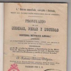 Libros antiguos: ANTONIO ALVERÁ DELGRÁS: PRONTUARIO DE LAS MEDIDAS, PESAS Y MONEDAS DEL SISTEMA MÉTRICO. 1860. . Lote 155524062