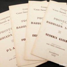 Libros antiguos: COOPERATIVA CASAS BARATAS MANRESA - PROYECTO BARRIADA DE JARDÍN - 1932 JOSÉ FIRMAT - ORIGINALES. Lote 155657098