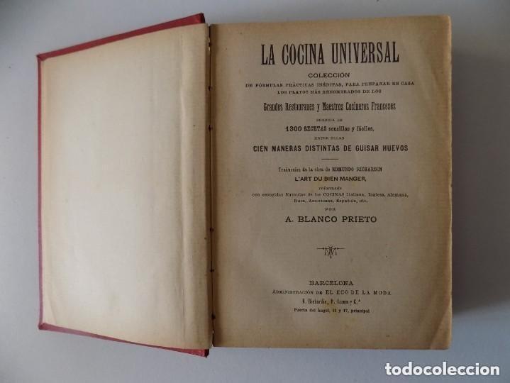 Libros antiguos: LIBRERIA GHOTICA. A. BLANCO PRIETO.LA COCINA UNIVERSAL. 1400 RECETAS SENCILLAS Y PRÁCTICAS.1890 - Foto 3 - 155815466