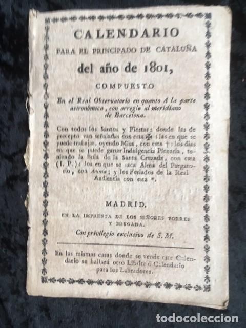 CALENDARIO PARA EL PRINCIPADO DE CATALUÑA DEL AÑO DE 1801 (Libros Antiguos, Raros y Curiosos - Ciencias, Manuales y Oficios - Otros)