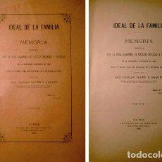 Libros antiguos: SOLER Y ARQUÉS, CARLOS. IDEAL DE LA FAMILIA. MEMORIA PREMIADA POR LA R. A. DE C. MORALES... 1887.. Lote 155899590