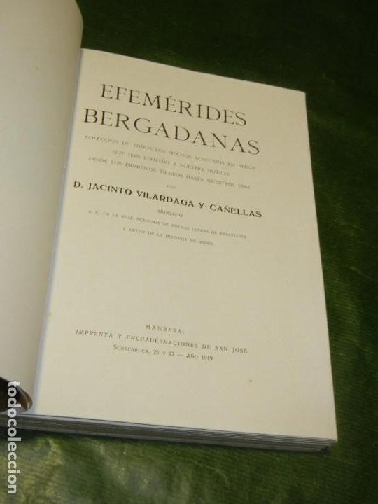 Libros antiguos: BERGA: EFEMÉRIDES BERGADANAS, DE JACINTO VILARDAGA Y CAÑELLAS - 1919 - Foto 2 - 155900162
