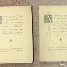 Libros antiguos: AFORÍSTICA UNIVERSAL. NOU RECULL DE PROVERBIS, MANLLEVATS A DIFERENTS POBLES ANTICHS E MODERNS. - BU. Lote 123168504