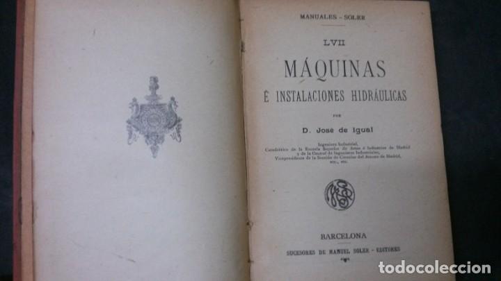 Libros antiguos: MANUALES SOLER-MÁQUINAS E INSTALACIONES HIDRÁULICAS - Foto 2 - 155962866