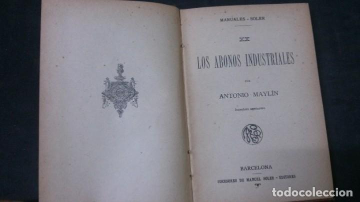Libros antiguos: MANUALES SOLER-ABONOS INDUSTRIALES - Foto 2 - 155964162