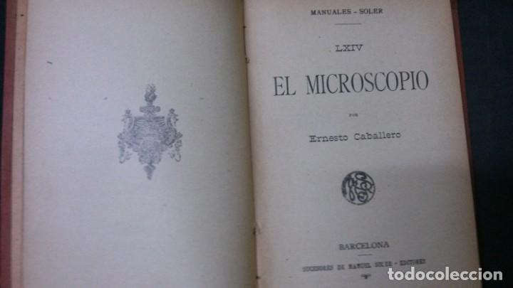 Libros antiguos: MANUALES SOLER-EL MICROSCOPIO - Foto 2 - 155971706